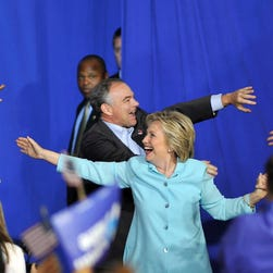 Hillary Clinton and Sen. Tim Kaine of Virginia rally in Miami on July 23, 2016.