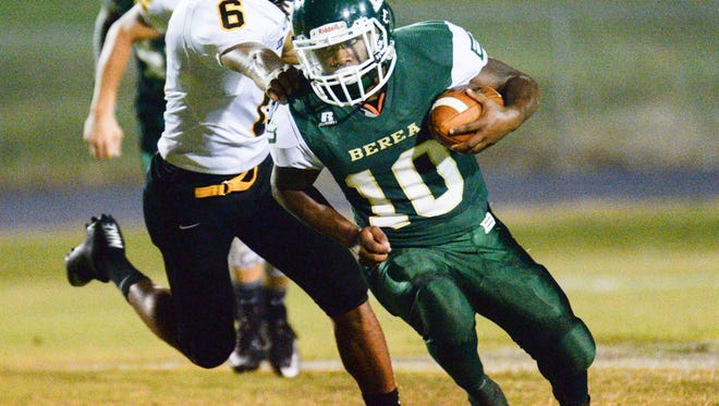 Junior running back Trap Hagood (10) is averaging nearly 200 yards rushing per game this season for Berea.