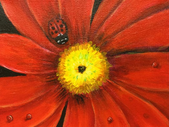 """""""Red Lady"""" by Mary Lou Moser, the featured artist for the 2018 Home & Garden. The 2018 Arts Alive! Home & Garden Festival runs from 9 a.m. to 6 p.m. Saturday and 11 a.m. to 5 p.m. Sunday at Ray Clymer Exhibit Hall."""