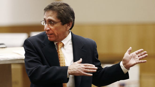 Prosecutor Juan Martinez has appealed discipline handed down last week by a lawyer-discipline committee of the Arizona Supreme Court. Here, Martinez reiterates an argument during the sensational murder trial of Jodi Arias.