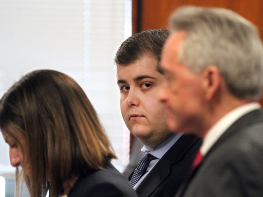 Danny Romeo DiSantillo is shown during his trial before Superior Court Judge James Blaney at the Ocean County Courthouse in Toms River Tuesday, January 31, 2017.  He is charged with the murder, along with Hector Calderon, of Peyman Sanandaji at an empty restaurant in Jackson in 2015.