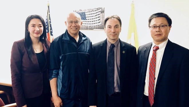 Pictured from left to right, Marlboro representatives Connie Mo, Terry Lau, East Brunswick Mayor Brad Cohen, and East Brunswick Board of Education member Liwu Hong.