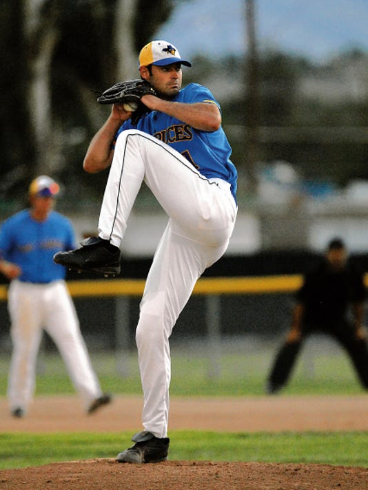 Robin Zielinski — Sun-News   In this 2010 file photo Adam Kramer kicks and fires toward home plate as the Las Cruces Vaqueros hosted a game at Apodada Park. After a two-year absence, the team is back in Las Cruces and ready to host its 2015 home opener.