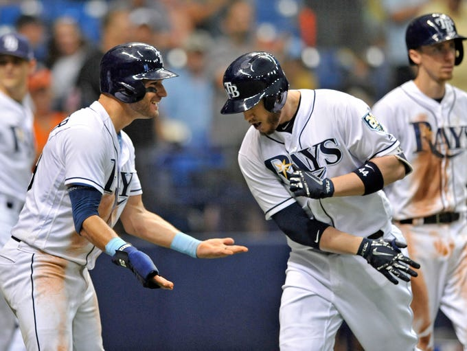 Tampa Bay Rays' Kevin Kiermaier, left, celebrates with