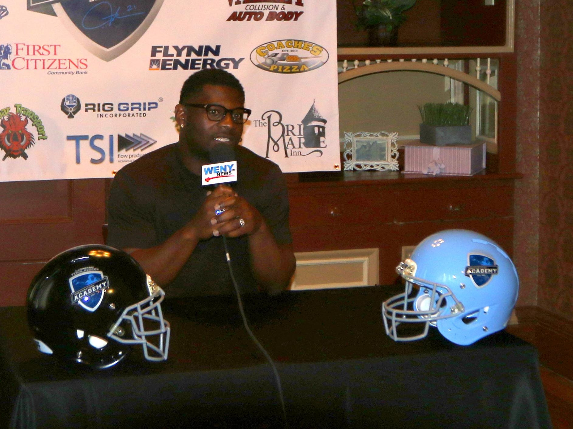 Former NFL star LaDainian Tomlinson speaks during a press conference Thursday afternoon at the BriMarie Inn restaurant in Sayre.