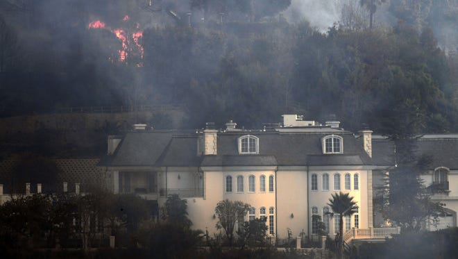 A Bel Air mansion threatened by the Skirball  fire.