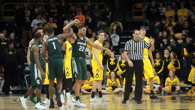 Michigan State's Miles Bridges celebrates after stealing an inbounds pass in the final seconds of the Spartans' game against Iowa at Carver-Hawkeye Arena on Tuesday, Feb. 6, 2018.