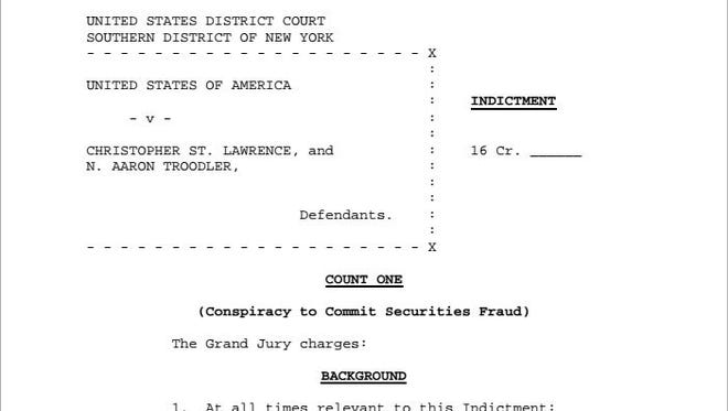 Indictment of Ramapo town Supervisor Christopher St. Lawrence and Aaron Troodler resulting from stadium financing probe.
