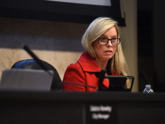 Reno Mayor Hillary Schieve speaks to City Attorney Karl Hall during a Reno City Council meeting on Feb. 23, 2018.