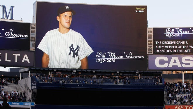 """The New York Yankees honor Bill """"Moose"""" Skowron with a moment of silence prior to the start of the game against the Detroit Tigers at Yankee Stadium on April 27, 2012."""