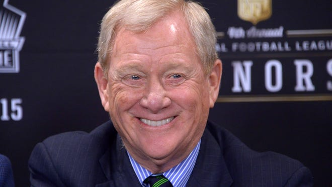 Former NFL general manager Bill Polian reacts during a press conference to introduce the 2015 Pro Football Hall of Fame inductees at Symphony Hall in January.