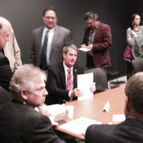 U.S. Sen. David Vitter, seated, met with a roundtable of oil and gas executives in a campaign event Monday morning.