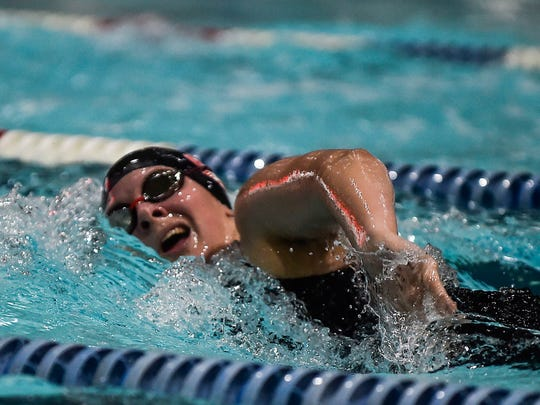Swimmer Natalie Dunham competes in the 200-yard freestyle during the MOAC Swimming Championships at the Marion Family YMCA earlier this year.