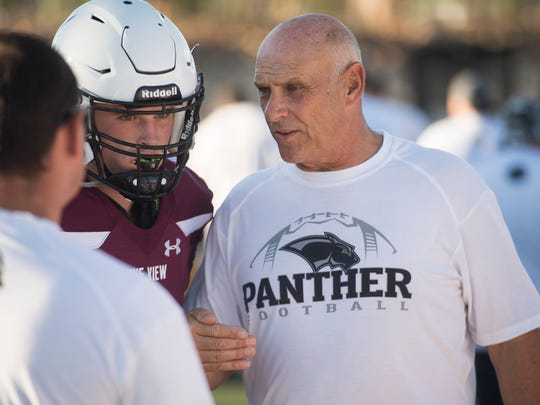 Pine View High School's Gary Crowton talks to players in the season opener against Logan's Green Canyon High on Aug. 17, 2018, in St. George. Green Canyon won 45-38.