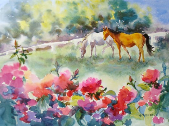 """Helen Merrick's """"Horses and Roses"""" is on display at Gallery at The Brown."""