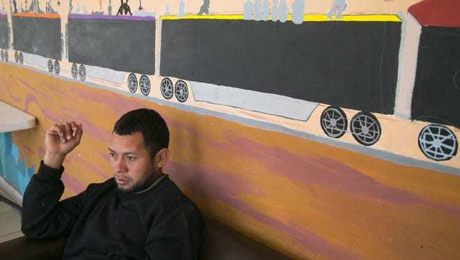 Daniel Melgar, 24, of San Pedro Sula, Honduras, sits in the migrant shelter run by the Diocese of Ciudad Juarez in Juarez, Mexico, on Tuesday, February 16, 2016.  Melgar has a ticket to see Pope Francis' mass in Juarez on Wednesday, February 17, 2017. He then plans to illegally cross into the United States. He left Honduras because of the gang violence.