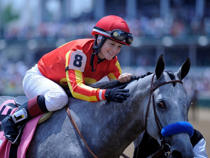 Rosie Napravnik aboard Midnight Lucky wins the 28th running of the Humana Distaff on Saturday at Churchill Downs. May 3, 2014