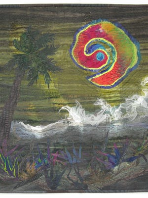 """Ann Reardon's """"Eye of the Storm"""" is one of many quilts featured in the """"Reflections on Hurricane Irma"""" quilt exhibit in Fort Myers."""