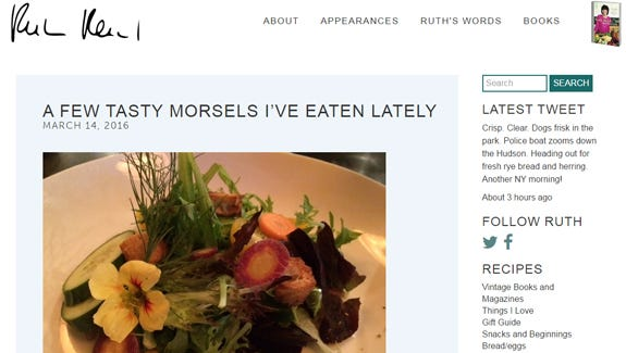 Screen grab from Ruth Reichl's blog in which she praises Battle Creek's Malia restaurant.