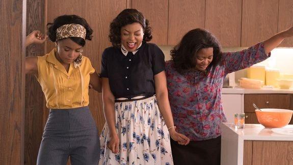 Mary Jackson (Janelle Monáe, left), Katherine Johnson (Taraji P. Henson) and Dorothy Vaughan (Octavia Spencer) take time to dance in the period drama 'Hidden Figures.'