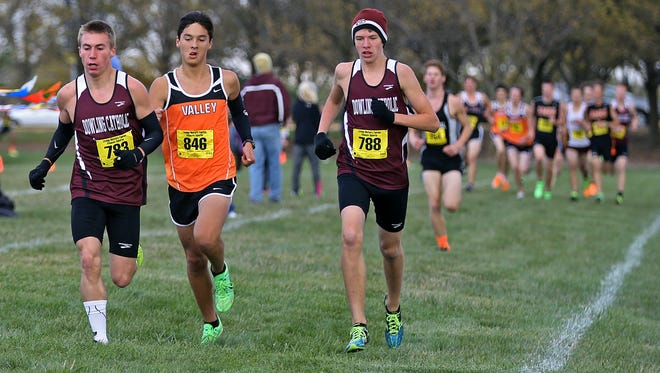 Ryan Schweizer of Dowling Catholic, right, shown here in a 2013 meet, took second in the state meet last season.