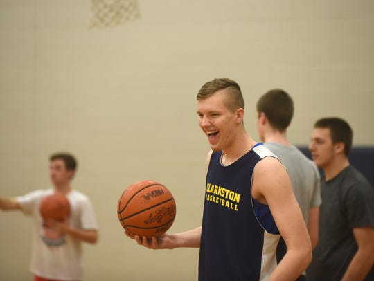 Clarkston's Taylor Currie enjoys a lighter moment during