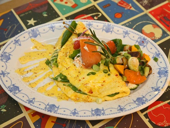 Omelets at Sabrosa include the smoked salmon, also