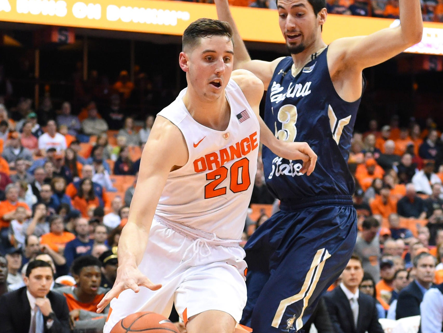 Syracuse's Tyler Lydon drives to the basket in a Dec. 22, 2015 game against Montana State in Syracuse.