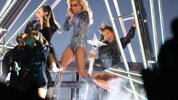 Feb 5, 2017; Houston, TX, USA; Lady Gaga performs during the halftime show during Super Bowl LI at NRG Stadium. Mandatory Credit: Kevin Jairaj-USA TODAY Sports ORG XMIT: USATSI-348602 ORIG FILE ID: 20170205_ajw_aj6_182.jpg