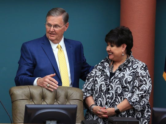 Mayor Joe McComb recognized Lucy Rubio during her time