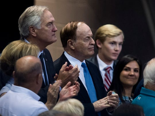 Senators Luther Strange and Richard Shelby watch as President Donald Trump speaks at a Luther Strange for senate rally at the Von Braun Center in Huntsville, Ala. on Friday September 22, 2017.