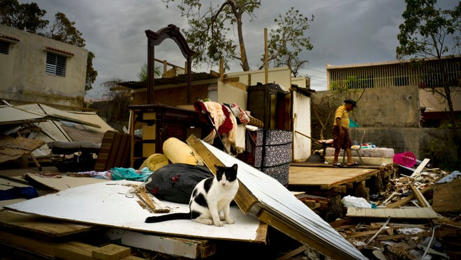 "Efrain Diaz Figueroa, right, walks by his sister's home destroyed in the passing of Hurricane Maria, in San Juan, Puerto Rico, on Monday. Maria sent tens of thousands of Puerto Ricans fleeing to the U.S. mainland to escape the immediate aftermath of the storm. The 70-year-old is waiting for a sister to come take him to stay with family in Boston. ""'I''m going to the U.S. I''ll live better there,""' he said."