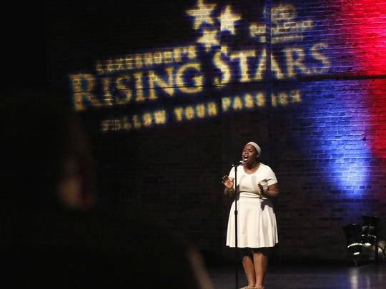 Katie Sievert of Manitowoc performs in front of the Lakeshore's Rising Stars judges during the final round of auditions Sunday.