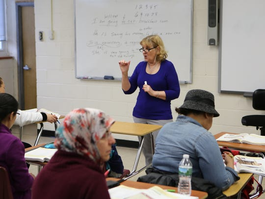 Pat Salerno teaches an ESL class at the Rockland BOCES Educational Resource Center in Nyack, where immigrants and an increasing number of Hasidic Jews learn English.
