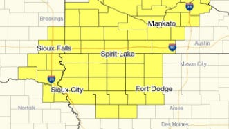 The areas in yellow are under a severe thunderstorm watch until 10 p.m. Monday.