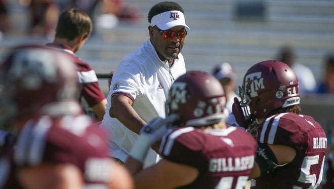 Texas A&M  coach Kevin Sumlin before a game against the Nevada Wolf Pack at Kyle Field.