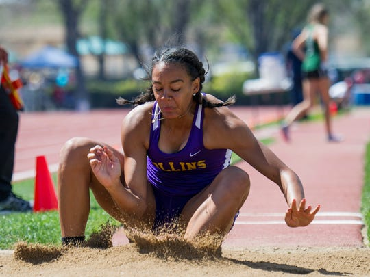 Fort Collins' Audra Koopman competes in the 5A long jump during the CHSAA Track and Field championships Sunday, May 21, 2017 at Jeffco Stadium. She won the title with a best jump was 19 feet and a half of an inch.