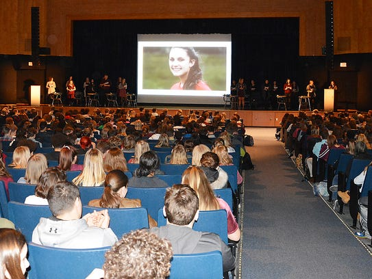 At Horseheads High School, every 30 seconds, a student read the biography of each of the victims of the shooting at Stoneman Douglas High School in Parkland, Florida. They also handed out burgundy and gray ribbons, and provided resources for students on where to go if they see/hear something or if they need help, along with ways to get involved outside of school, including how to register to vote. Photo provided