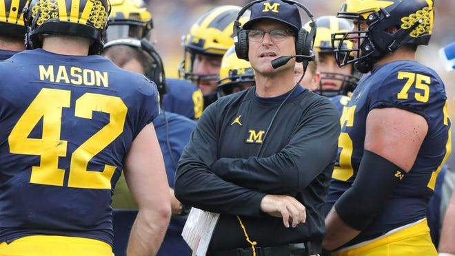 Michigan's head coach Jim Harbaugh on the sidelines during second half action against Maryland Saturday, October 6, 2018 at Michigan Stadium in Ann Arbor, Mich.