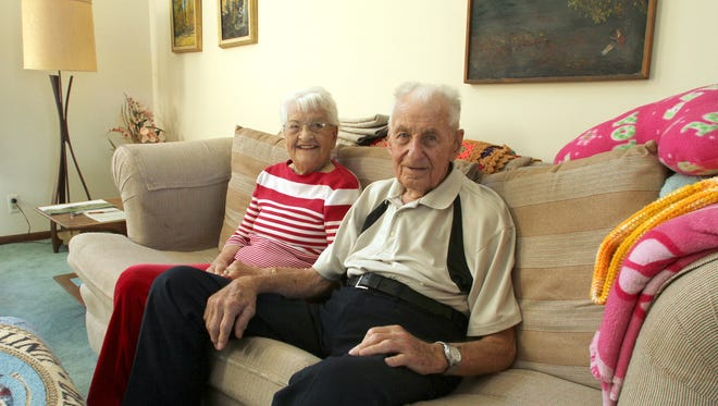 Hamburg Township residents Duane Bethke, 93, and Audrey Bethke, 92, recently celebrated their 70th wedding anniversary. Though a late return from a trip prevented the Bethkes from playing in their regular golf league, the pair enjoy playing golf at a nearby course.