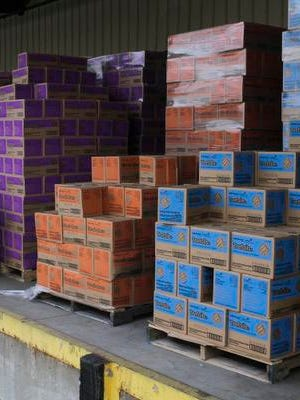 Pallets of Girl Scout cookies, many of which were made at the Kellogg cookie plant in Louisville, await delivery to area customers.