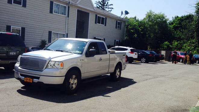 Ford 150 truck that backed over and killing a child in the parking lot of Lottie Gardens, 38 Rose Ave., Spring Valley, July 11, 2014.