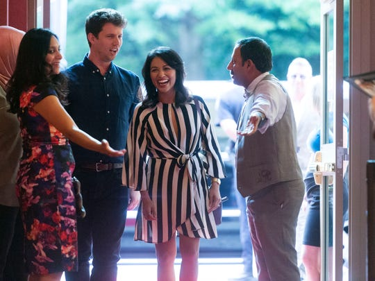 """Movie producer Megha Kadakia, left, and actor Rizwan Manji, welcome fellow actors Jon Heder and Karen David to the Regal Riviera Stadium 8 theater for the premier of their movie """"The Tiger Hunter"""" on Monday, September 18, 2017."""