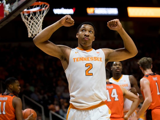 Tennessee forward Grant Williams (2) reacts to a call during Tennessee's basketball game against Mercer at Thompson-Boling Arena on Wednesday, Nov. 29, 2017.