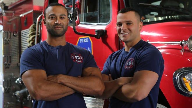 White Plains firefighters and bakers Sunny Seward and Tonin Bukaj pose in White Plains.