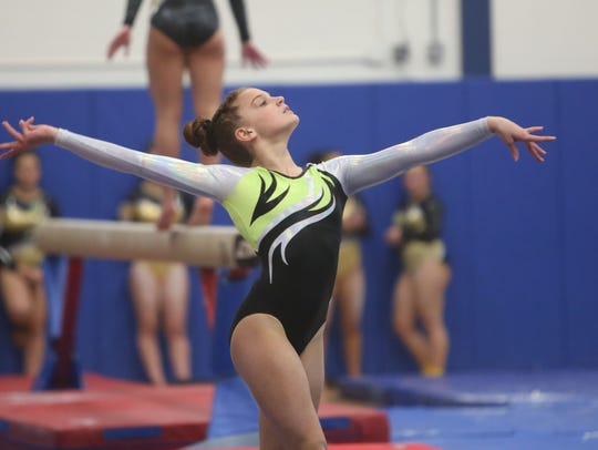 Clarkstown's Alexa Henshaw competes in the Floor Exercise