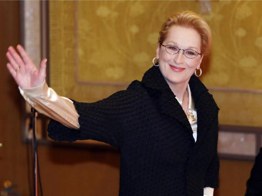"Meryl Streep arrives for a photocall for her film ""Into the Woods"" in Tokyo."