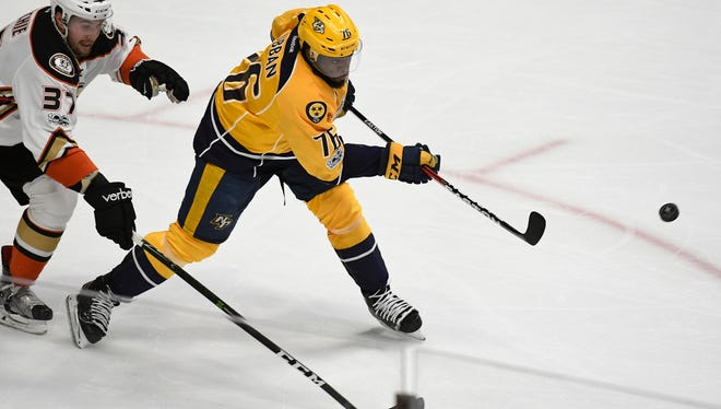 Predators defenseman P.K. Subban (76) takes a shot during the first period of Game 3 of the Western Conference finals on Tuesday, May 16, 2017.