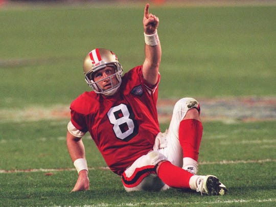 Steve Young's career lasted well into his 30s with San Francisco. Like the Packers, the 49ers were blessed with back-to-back Hall of Fame quarterbacks when Young took the reins from Joe Montana.