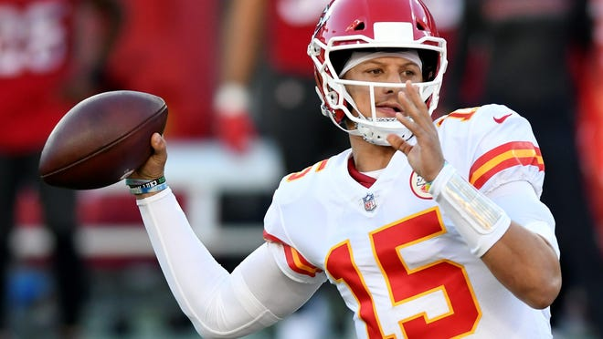 Kansas City Chiefs quarterback Patrick Mahomes throws a pass against the Tampa Bay Buccaneers during last Sunday's game in Tampa, Fla.